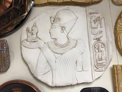 Vintage Unique Hand Made Egyptian Goddess Ma'at and Pharaoh  Relief/Plaque
