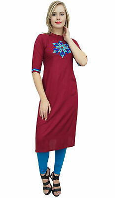 Bimba Women's Maroon Embroidered Kurti Designer Tunic Ethnic Indian Kurta