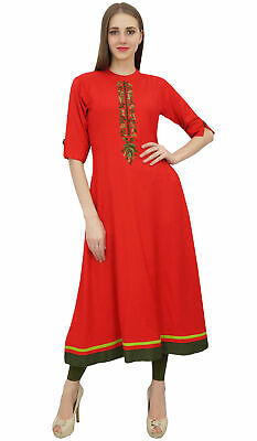 Bimba Women's Rayon A-Line Red Kurti Tunic Ethnic Emboidered Kurta Dress