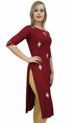 Bimba Women's Designer Maroon Tunic Embroidered Kurta Kurti Ethnic Clothing