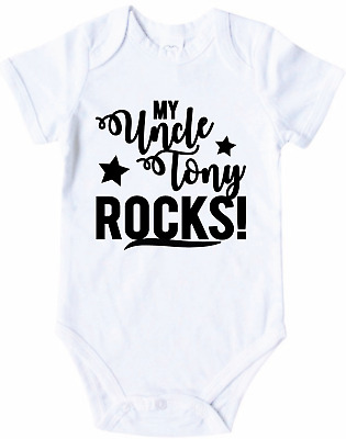 (Your Name) ROCKS! Personalised NAME Baby Gift OnePiece Bodysuit Romper uncle au