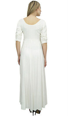 Bimba Women's White Floral Embroidered Rayon Designer 3/4 Sleeve Long Maxi