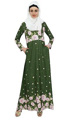 fbbc5a8f22a BIMBA WOMEN S MUSLIM Green Abaya Aari Work Jilbab Islamic Dress With ...