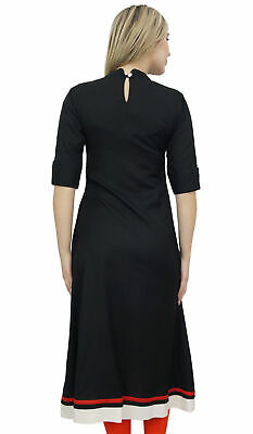 Bimba Women's Rayon A-Line Black Kurti Tunic Ethnic Emboidered Kurta Dress