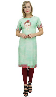 Bimba Women's Tunic Buddha Print Kurti Kurta Green Casual Summer Clothing