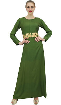 0bba3e57936 Bimba Women s Full Sleeve Dress Green Casual Rayon Long Muslim Maxi Dresses