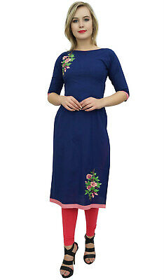 Bimba Womens Cotton Kurta Kurti 3/4 Sleeve Blue Embroidered Designer Tunic