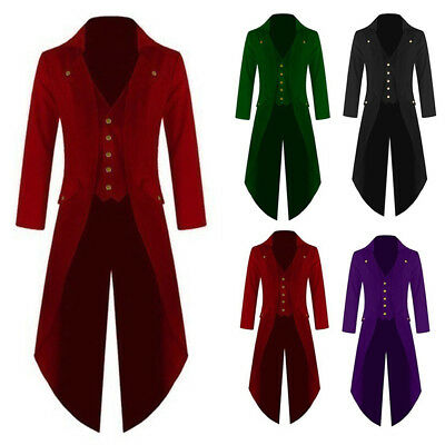 Nahshon Mens Vintage Tailcoat Jacket Gothic Long Steampunk Formal Gothic Victorian Tuxedo Frock Coat Costume for Halloween