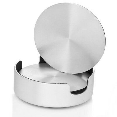 """6Pcs Round Stainless Steel Coaster Drinks Cup Holder Foamy Bottom 4"""" Pad"""