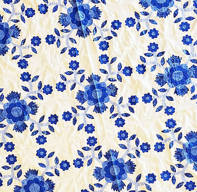 Unique Graphic Blue and White Rose of Sharon Floral Hand Applique QUILT TOP