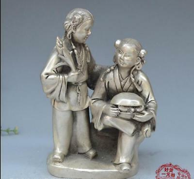 Fine Chinese Bronze Copper silvering Two fairy