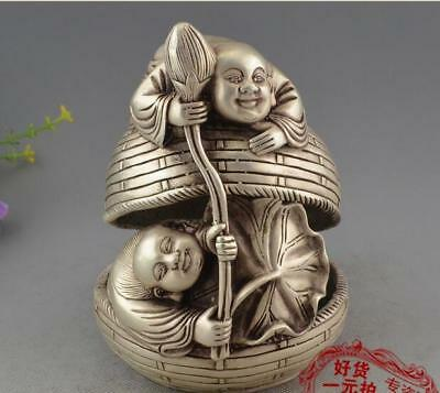 Fine Chinese Bronze Copper silvering Two Boy