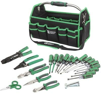 Electricians Tool Set Long Nose Cutting Pliers Screwdriving Bits (22-Piece)