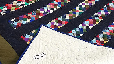 Unique masculine postage stamp bar FINISHED QUILT - Great quilting - Twin sized