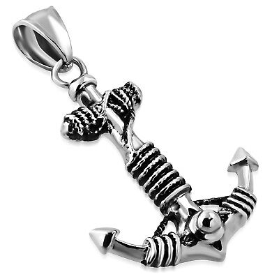 Stainless Steel Vintage Two-Tone Nautical Marine Rope Anchor Pendant Necklace
