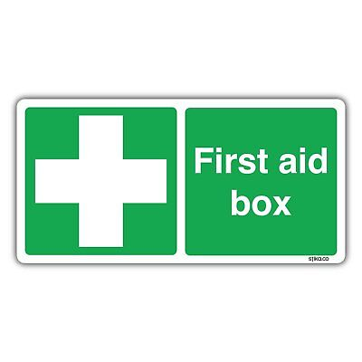 First Aid Box Sign 20x10cm Self-adhesive Vinyl Sticker (Pack of 1)