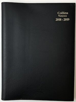 Diary 2018/2019 Collins A4 Vanessa Financial Year Week To View Opening - Black