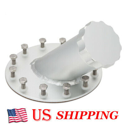 Aluminum 45 Degree 12 Bolt Flange Billet Fuel Cell Fast Fill Filler Neck Silver