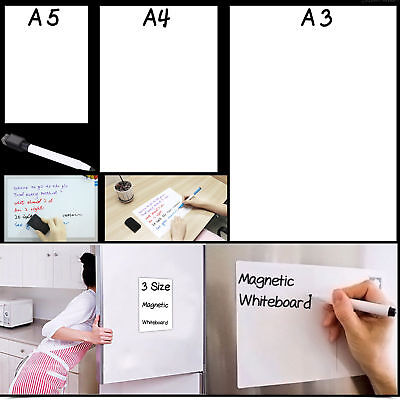 A3/A4 Flexible Fridge Magnetic Whiteboard Memo Reminder Board Pen Eraser Magnet