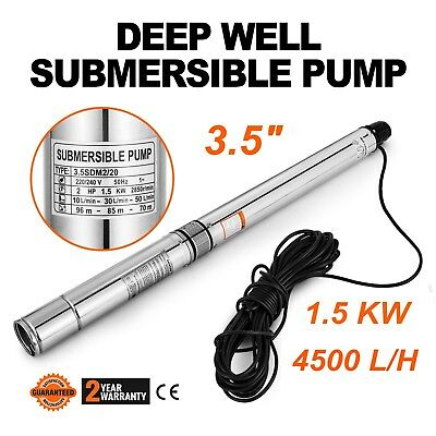 "3.5"" Inch 230V Submersible Deep Well Water Pump Electric 1500W with 59ft cable"