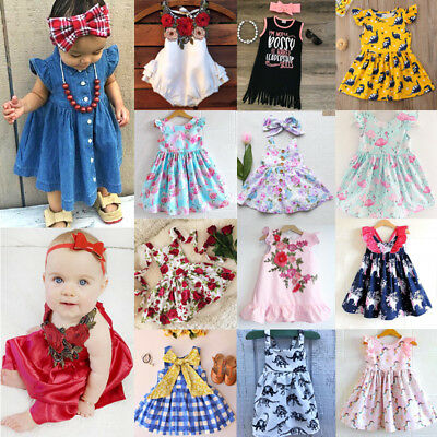 UK Stock Newborn Kids Baby Girls Unicorn Flowers Dress Sundress Outfits Clothes