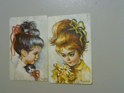 2 Swap/Playing Cards - Pair Girls with Ribbon in Hair