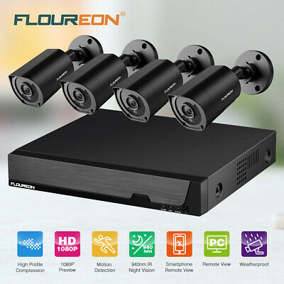 FLOUREON 8CH HDMI DVR 4 1080P HD IP Network Home CCTV Security Camera System Set