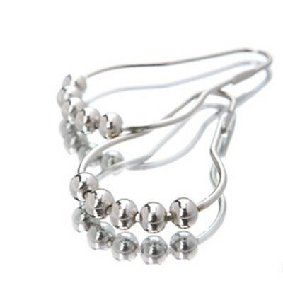 12x Chrome Plated Ball Bead Easy Glide Shower Metal Curtain Rings Hooks Rods