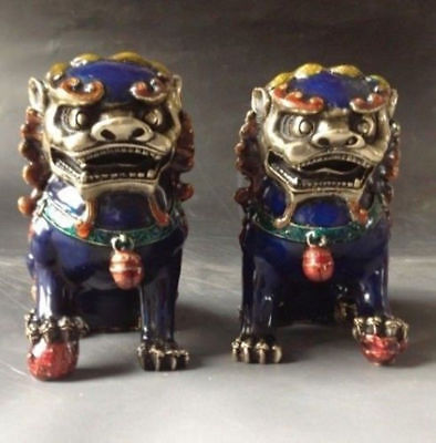 A Pair Chinese Cloisonne Copper Statue - Lion Foo Dog nb