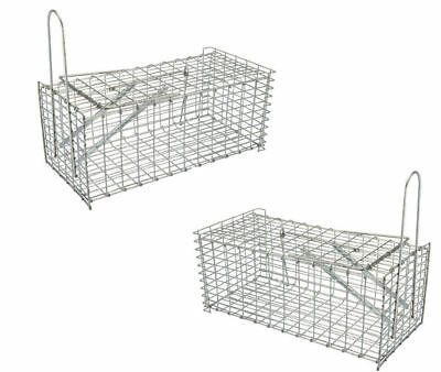 2x Large Galvanised Metal Humane Collapsible Rat Mouse Trap Cage Easy Bait UK