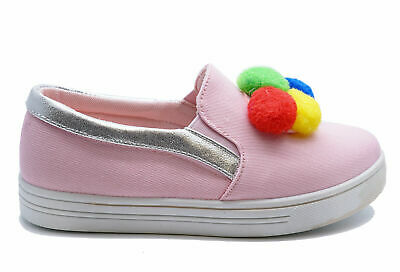Girls Childrens Pink Slip-On Pom-Pom Canvas Plimsolls Pumps Kids Shoes Sizes 8-1