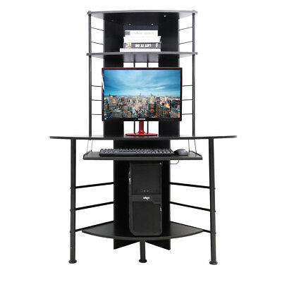 Tall Corner Computer Desk Pc Wood Table Unit With