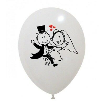 "100 Palloncini Matrimonio Sposi  Stampa In Rilievo 12"" Wedding Party Elio"