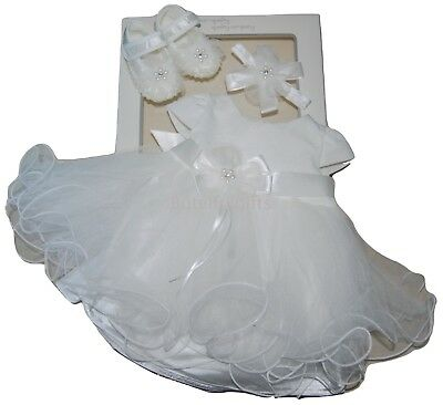 Baby Girls Stunning Ivory Occasion Christening Bow Dress Headband & Shoes