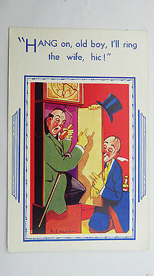 1950s Comic Postcard Grandfather Long Case Clock Horology Brass Pendulum Weight