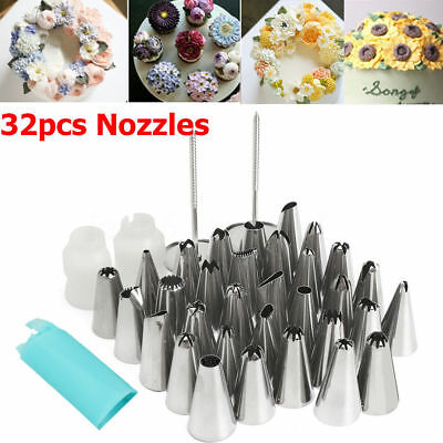 32 PIECES CAKE DECORATING KIT Supplies Tools Tips Icing Bag Nozzles Piping Set