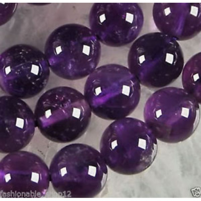 6mm-12mm Natural Russican Amethyst Gemstones Round Loose Beads 15''