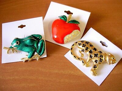 New 3 Mixed Gold Red Apple Green Frog Black Spotted Leopard Pin Brooch Lot -2""