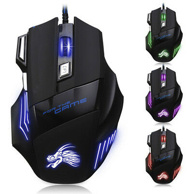 5500DPI 7D LED USB Wired Optical Pro Gaming Mouse Mice For PC Laptop Computer