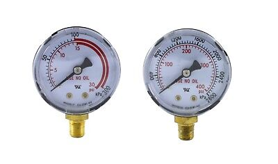 """Pair of Gauges for Acetylene Regulator - Low & High - 2 inches - 1/8"""" NPT Thread"""