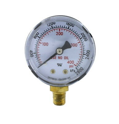 "High Pressure Gauge for Acetylene Regulator 0-400 psi 2 inches - 1/8"" NPT Thread"