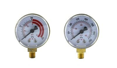 """Pair of Gauges for Acetylene Regulator   Low & High - 2 inches - 1/8"""" NPT Thread"""