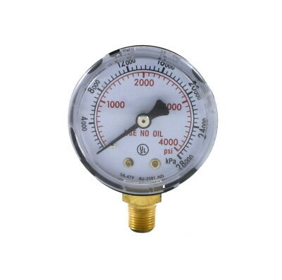 "High Pressure Gauge for Oxygen Regulator 0-4000 psi 2 inches - 1/8"" NPT Thread"