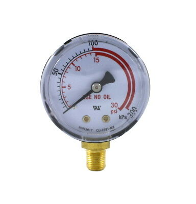"Low Pressure Gauge for Propane Regulator 0-30 psi 2 inches - 1/8"" NPT Thread"