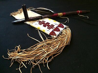 Lakota Style Peace Pipe (Sacred Pipe) With Pipe Bag. Finest in Tribal Display!