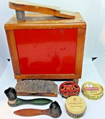 Antique Wood & Metal Shoe Shine Box Stand & Kit Americana Old Vtg ShoeShine