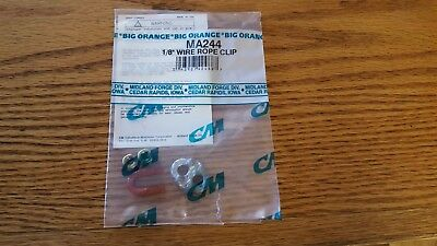 "New Lot Qty 10 Columbus McKinnon MA244 1/8"" Wire Rope Clip (BIG ORANGE) M244"