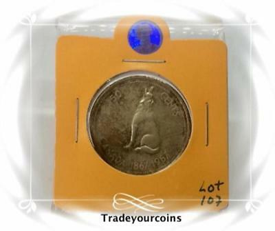 1967 Canada Silver 50 Cents Howling Wolf 100th Anniversary of the Confederation-