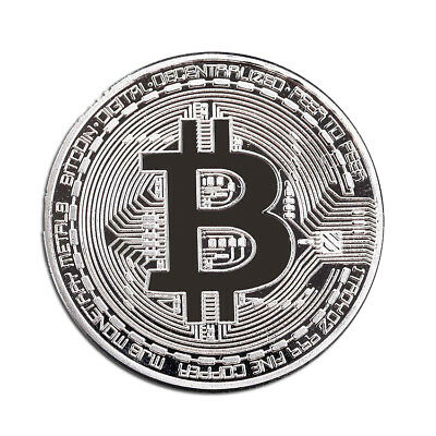 Round Silver Bitcoin Commemorative Art Collectors Bit Coin Silver Plated Gift
