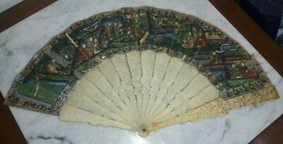Ancient and impressive oriental fan in noble material - mandarín chinese